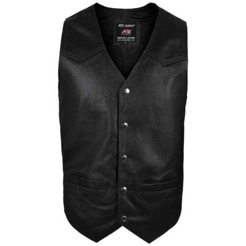 2Fit® Men/'s Motorcycle Vest Genuine Cowhide Leather Black Style 950