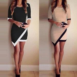 Donne-sexy-palla-vestito-mini-abito-corto-matita-asimmetrica-partito-bianco-nero