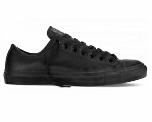 Mens-Women-Converse-Chuck-Taylor-All-Star-OX-135253C-Leather-Trainers-Black-Mono