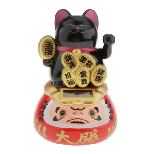 Waving Hand Lucky Cats Health Lovers Friends Gifts Office Black Chinese
