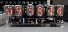 nixie clock six digits black pcb with 12/24 hr disp RTC and PSU. Assembled.