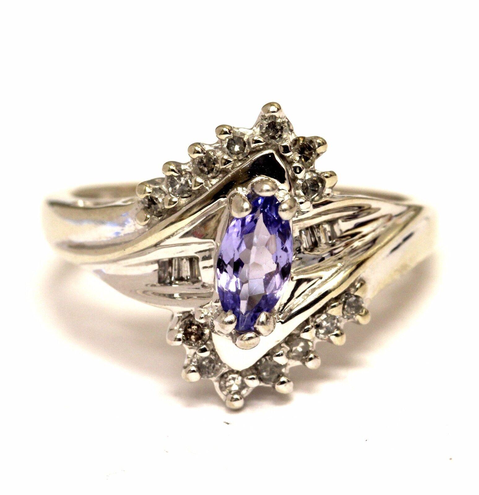 10k white gold .20ct SI1 H diamond women's tanzanite ring 3.8g ladies estate