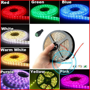 1-2-3-5M-12V-LED-Strip-Tape-SMD-Lights-Connector-Waterproof-Kit-White-Blue-RGB