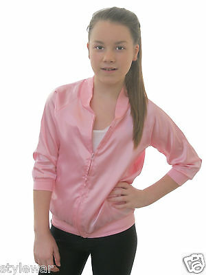 GIRLS PINK JACKET FANCY DRESS COSTUME KIDS ROCK GIRL 1950s OUTFIT Age 5-13 Yrs