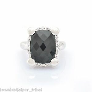 Cushion-Cut-Hematite-CZ-Stone-Silver-Womens-Amazing-Ring-Precious-Jewelry-SJRG-5