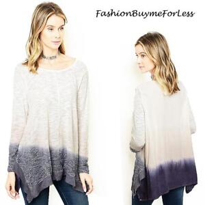 BOHO-Gypsy-Ivory-Purple-Hippie-Ombre-Tie-Dye-Sharkbite-Tunic-Sweater-Top-M-L-XL