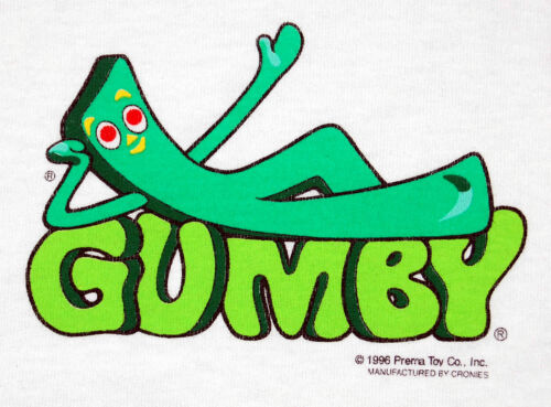 Vintage T-Shirt Gumby TEE green ringer NEW - Size XL Adult - 199