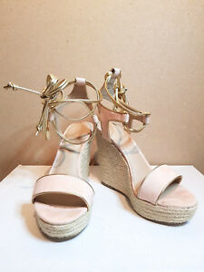 160e44d51b3 Womens ASOS Peach Nude Wedge Heels Gold Lace Up Size 3 Espradilles ...
