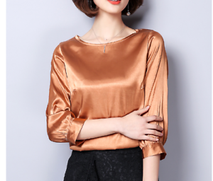 Womens-Formal-Shirt-Vintage-3-4-Sleeve-Top-Solid-Blouse-Work-Satin-Silky-Outwear