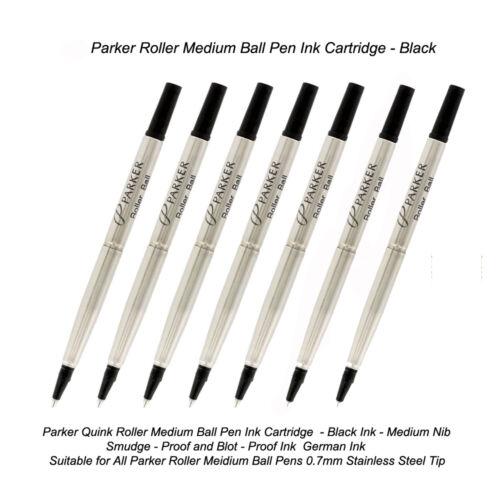 7 Parker Quink Roller Ball Rollerball Pen Refill Medium Nib Black Ink USA Seller
