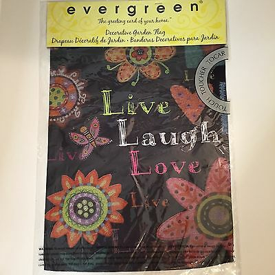"12/"" X 18/"" EVERGREEN DECORATIVE GARDEN FLAG LIVE LAUGH NEW LOVE"