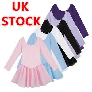 UK Girls Ballet Dance Leotard Dress Kids Gymnastics Dancewear Yoga Costume