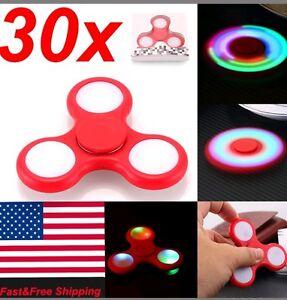30 X LED HAND SPINNER TRI FIDGET TOY EDC FINGER LIGHT GYRO FOR KID WHOLESALE LOT