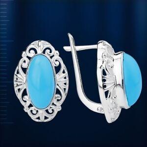 Ohrschmuck-mit-Tuerkis-blau-Caboshon-Russische-Ohrringe-Sterling-Silber-925-Neu