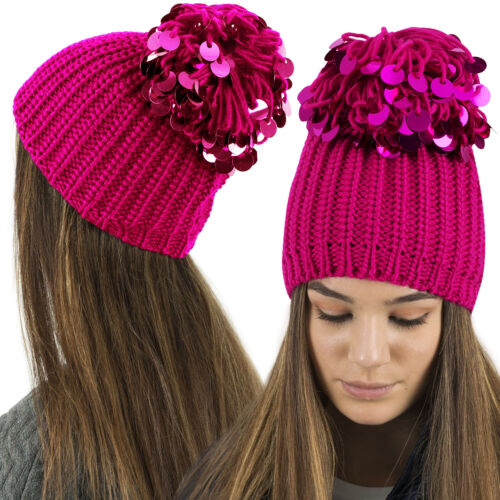 Mesdames Womens Knitted Beanie A//Beanie with Pince Sequin Sparkle Pom Pom