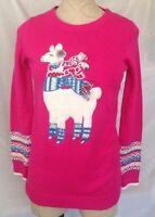 Girl Maggie & Zoe Pink Fuzzy Llama Embellished Long Sleeve Tunic Sweater M 10-12