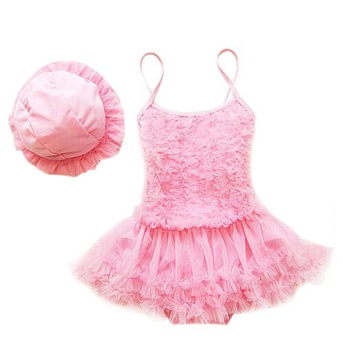 Toddler Kids Girls Tutu Swimsuit Swimwear Ruffle Bikini Skirt Bathing Suit Hat