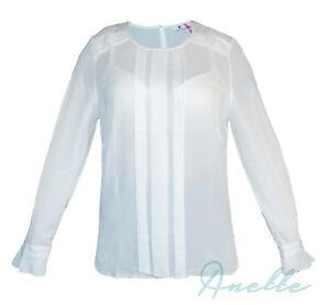 V-by-Very-New-Ladies-Classic-Elegance-Blouse-Pleated-Elements-Long-Sleeve-BNWT
