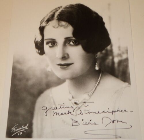 BILLIE DOVE SILENT SCREEN STAR 8 X 10 B&W AUTOGRAPHED PHOTO RARE!