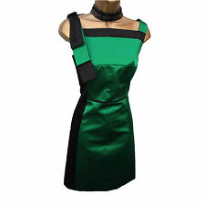 Karen Millen 60's Green Black Satin Bow Detail Cocktail Wiggle Pencil Dress 10UK