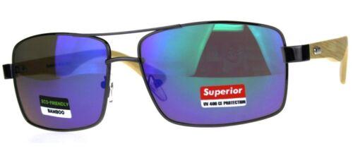 Pilot Bamboo Wooden Wood Sunglasses Retro Big UV400 Mens Ladies Women/'s