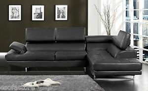 Chrome Finish Legs Bonded Black Leather Match Sectional Sofa Contemporary Style