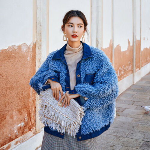 Dames Jas Warme Vogue Blauw Uitloper Korte Winter Bontkraag Jas Parka xoerdWCB