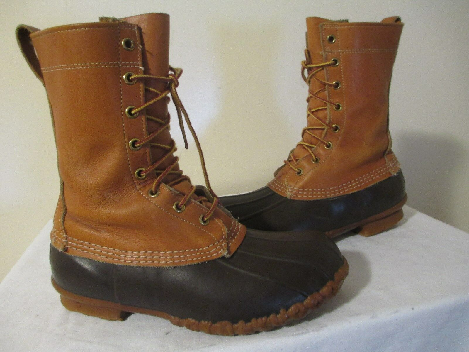 LL BEAN DUCK BOOTS CLASSIC MAINE HUNTING 8 EYELETS LACE UP Uomo SHOES MADE IN USA