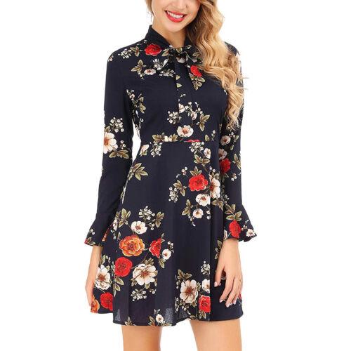 Fashion Women Flare Long Sleeve Bow Bandage V-Neck Floral Printed Mini Dress