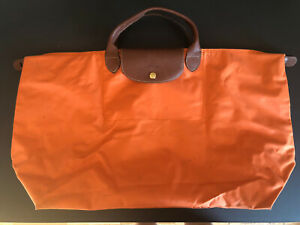 longchamp-le-pliage-black-tote-bag-Extra-Large-Orange-Travel-Bag