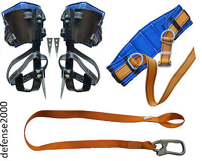 Safety Belt Safety Lanyard With Carabiner Tree Climbing Spike Set