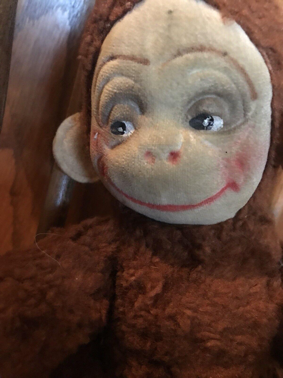 Vintage stuffed animal Monkey felt smiling face rare collectible