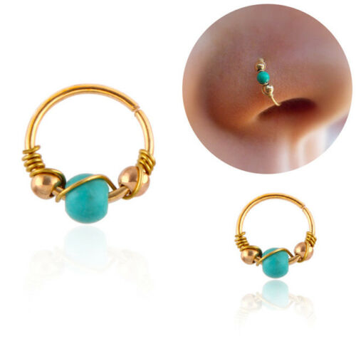 Nostril Hoop Bead Ear Nose Ring Piercing Stud Earring Body Fashion Jewelry LG