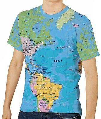 World Political Map Men's Clothing T-Shirts S M L XL 2XL 3XL