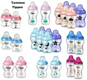 Tommee-Tippee-Closer-to-Nature-150ml-260ml-340ml-Decorated-Bottles-Blue-Pink