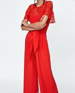 1b5a49ff340 Image is loading NWT-ZARA-RED-CONTRAST-LACE-JUMPSUIT-SIZE-MEDIUM-