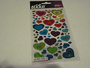 Scrapbooking-Crafts-Stickers-Sticko-Colorful-Hearts-Shimmery-Large-Small-Repeats