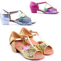 Children Girl's Ballroom Latin Tango Dance Shoes heeled Salsa Sequin Glitter Kid