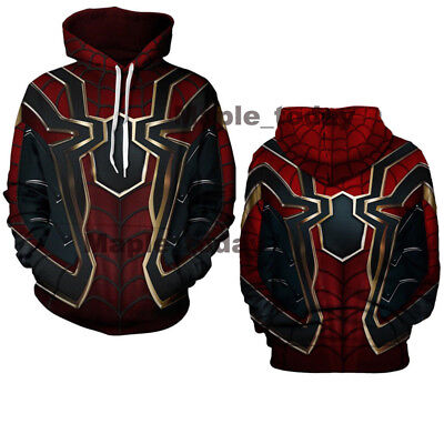 Avengers Infinity War Iron Spider-Man Hoodie Spiderman Cosplay Pullover Hooded