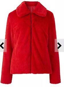 Cappotto rossa 80 Scatola £ taglia pelliccia Uk sintetica 00 corto Rrp in E108 24 4Bfv4C