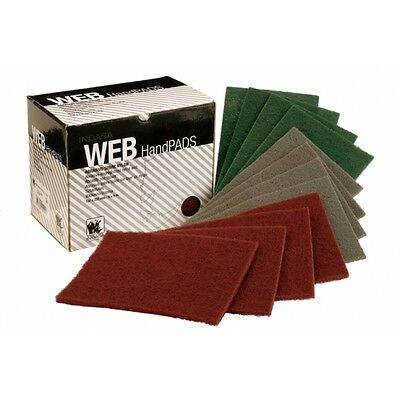 8 X BOX OF 20 INDASA WEB HAND FINISHING PADS RED VERY FINE SCOTCH BRITE ABRASIVE