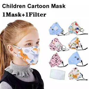 Children S Cotton Face Masks With Filter Respirator Cartoon Face Masks Uk Ebay
