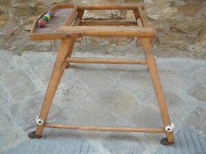 Antico-GIRELLO-con-PALLOTTOLIERE-a-4-Ruote-in-Legno-Giocattoli-d-039-Epoca-53x53-cm