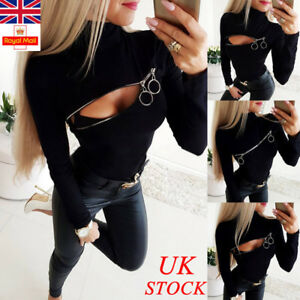 Womens-Sexy-Zipper-High-Neck-Tunic-Blouse-Ladies-Long-Sleeve-T-Shirt-Casual-Tops