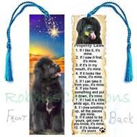 Newfoundland Large Bookmark W/tassel Black Dog Rules Property Law Art Book Card