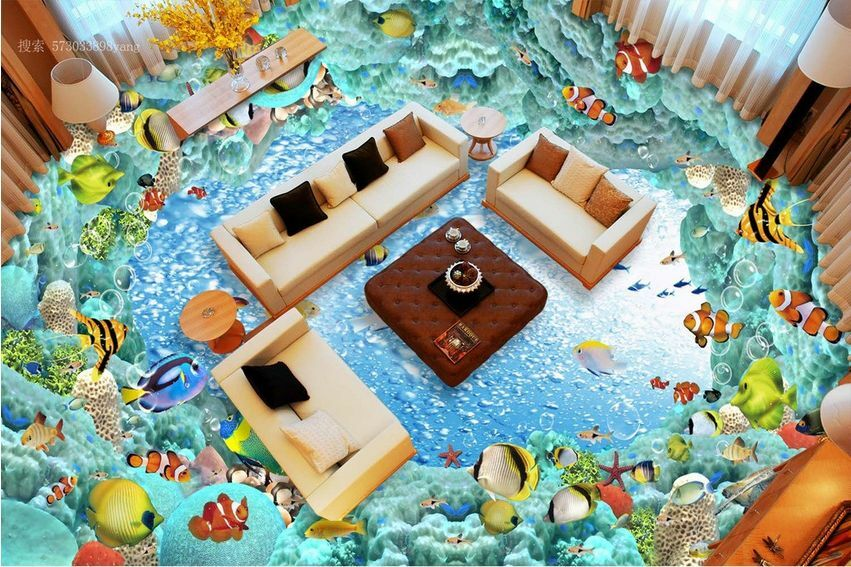 3D fish sea stone 668 Floor WallPaper Murals Wall Print Decal 5D AJ WALLPAPER