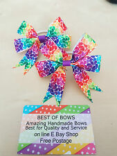 RAIN BOW DOT HAIR BOBBLES HAND MADE BOW LOVED BY  FANS  IN A PAIR