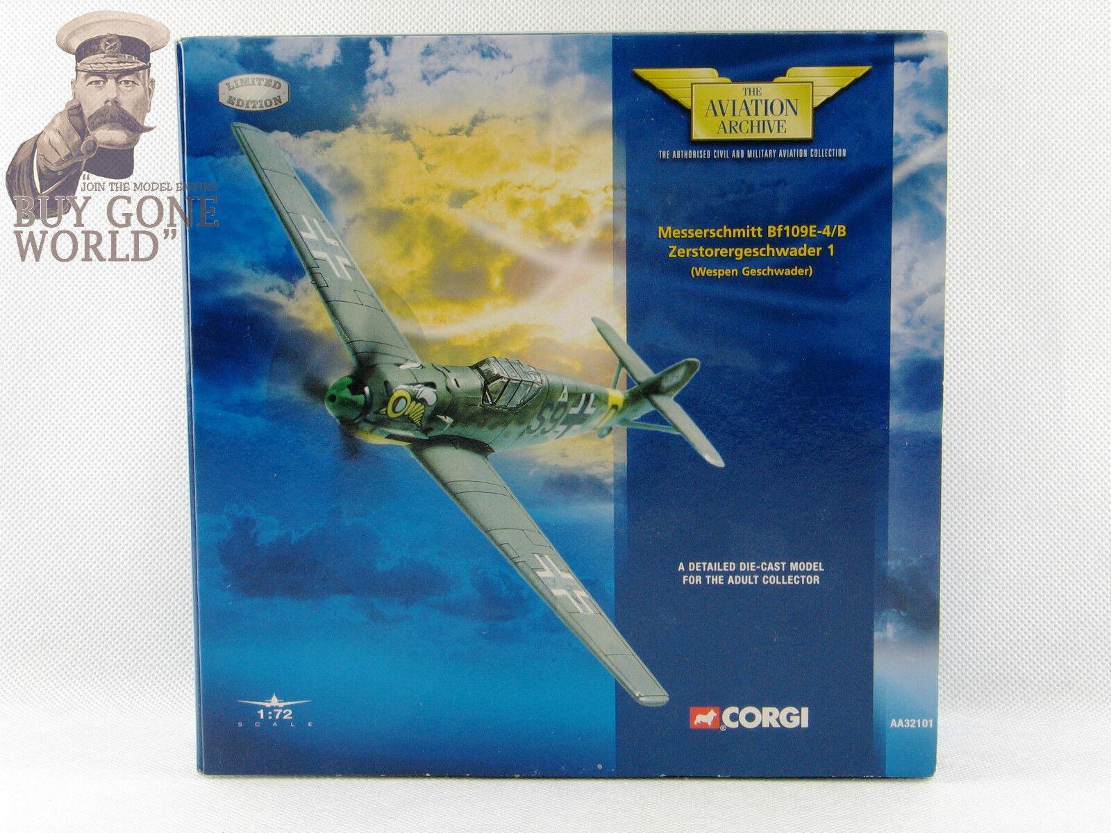 Corgi Corgi Corgi AA32101 Bf109E-4 B Gruppenstab III SKG 210 Wespen Geschwader - NEW 1909b1