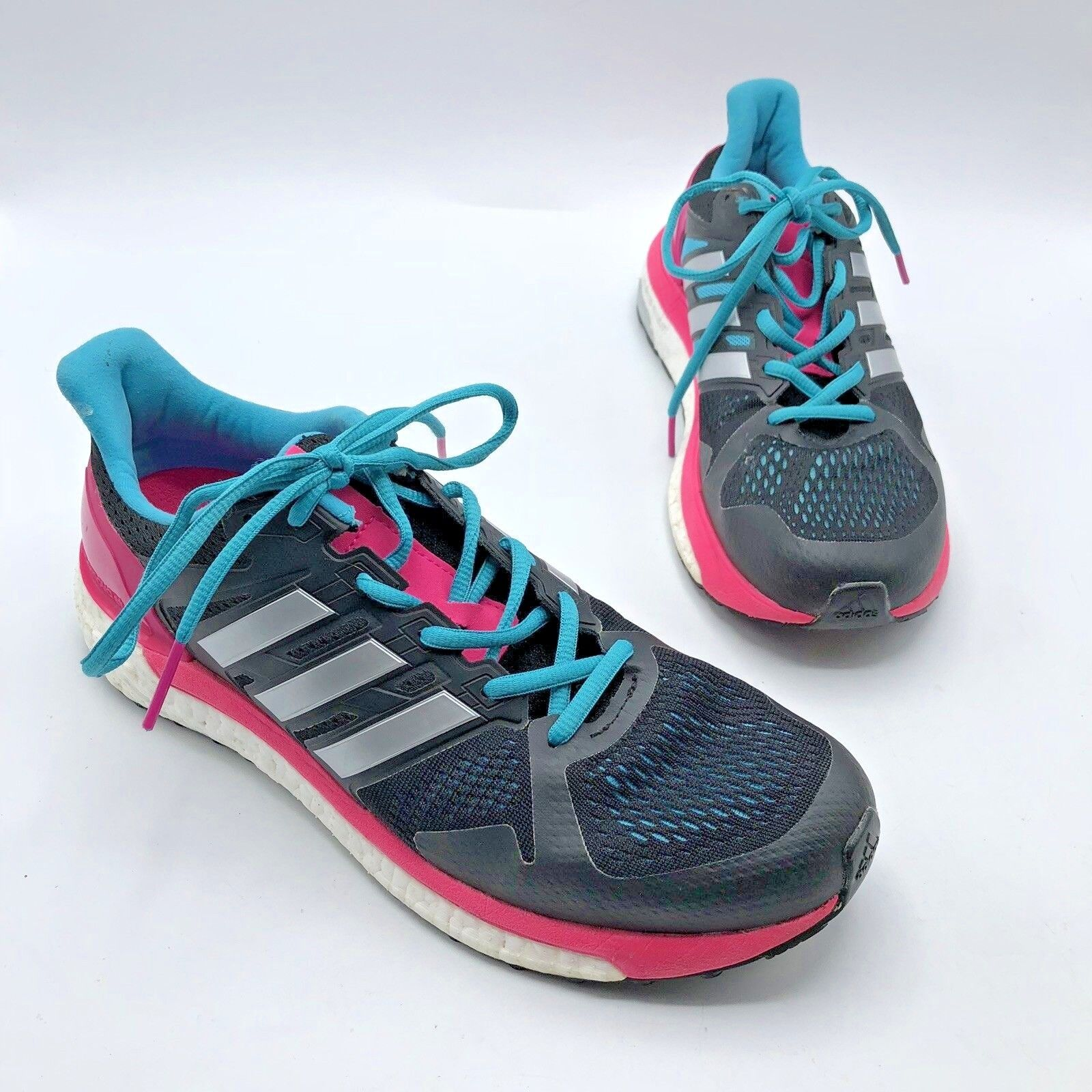 ADIDAS Supernova ST Women Black Pink Running shoes Size 9.5M Pre Owned