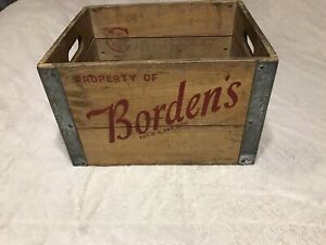 Vintage-1961-Borden-Co-Wooden-Milk-Bottle-Crate-Brooklyn-NY-EXQUISITE